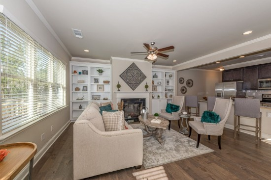family room with kitchen